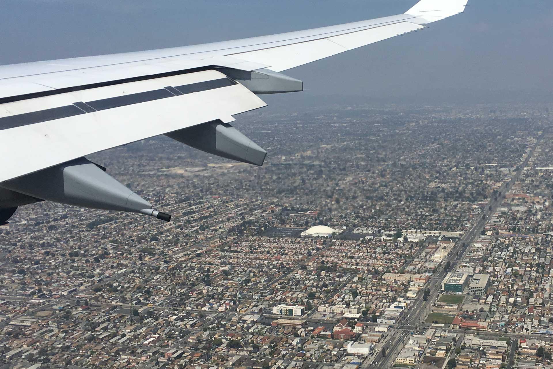 Kurz vor der Landung am Flughafen von Los Angeles